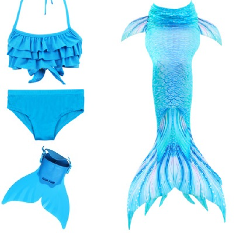 Realistic Best Kids Mermaid Tail Blue Swimsuit Bikini for Swimming with Fins Monofin Flipper
