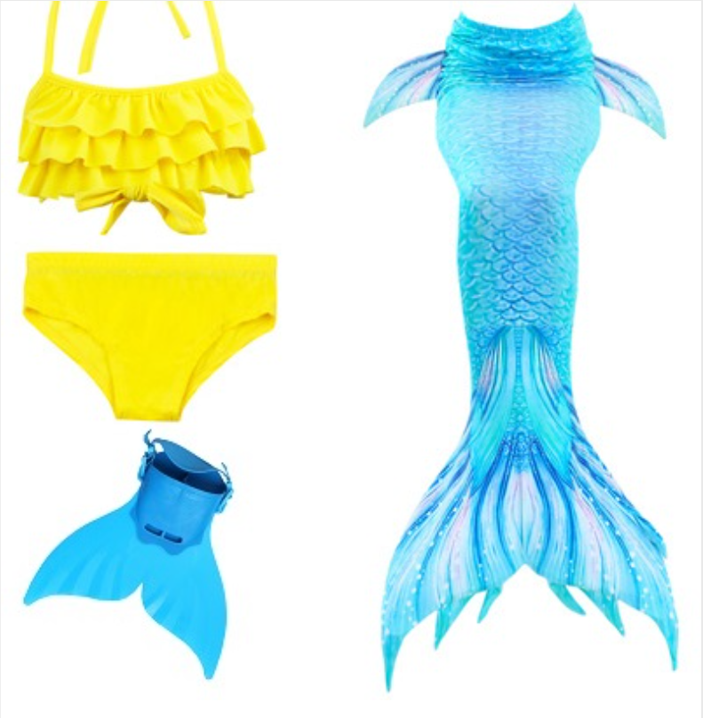 Realistic Best Kids Mermaid Tail Yellow Swimsuit Bikini for Swimming with Blue Fins Monofin Flipper