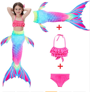 Realistic Best Kids Mermaid Tail Swimsuit Bikini for Swimming with Pink Top