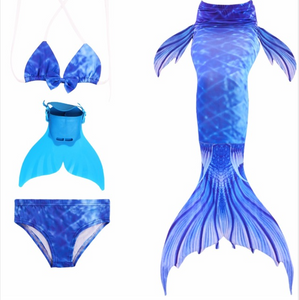 Kids Mermaid Swimming Tail Swimsuit Cosplay Mermaid Tails D with Fins Monofin Flipper for Girls