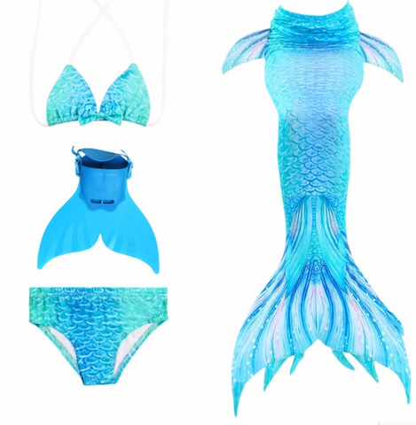 Kids Mermaid Swimming Tail Swimsuit Cosplay Mermaid Tails E with Fins Monofin Flipper for Girls