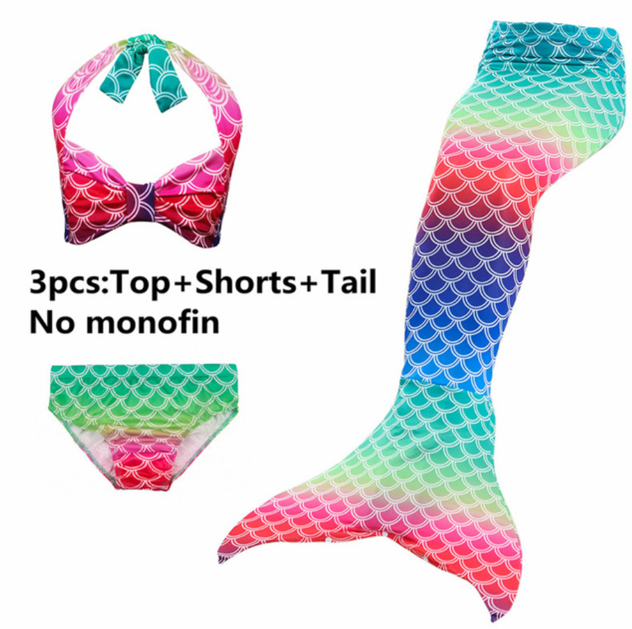 Girls Cosplay Mermaid Tail Swimwear Bikini Summer Swim Dress Cosplay M Mermaid Tails