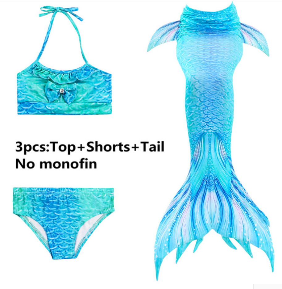 Girls Cosplay Mermaid Tail Swimwear Bikini Summer Swim Dress Cosplay C Mermaid Tails