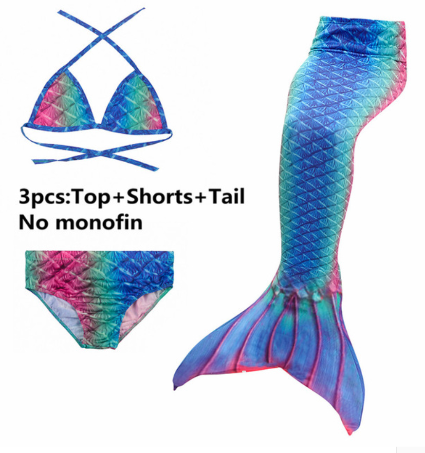 Girls Cosplay Mermaid Tail Swimwear Bikini Summer Swim Dress Cosplay E Mermaid Tails