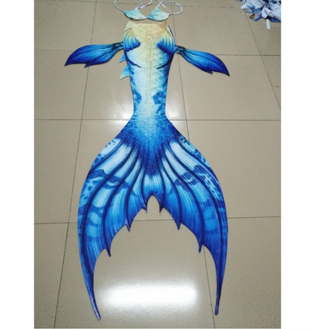 Aqua Fairy Fabric Blue Swimmable Mermaid Tails for Adults Women with Monofin