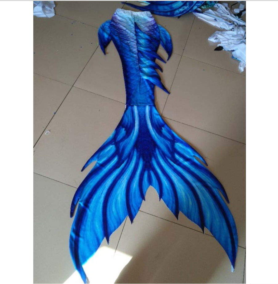 Blue is the main, white embellishment Swimmable Mermaid Tails for Adults Women with Monofin