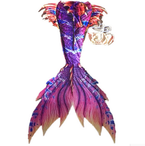 Swimmable Mermaid Tails Purple is the main color, embellished with other colors for Adults Women with Monofin