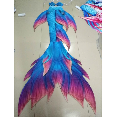 Blue Swimmable Mermaid Tails with purple Fins for Adults Women with Monofin