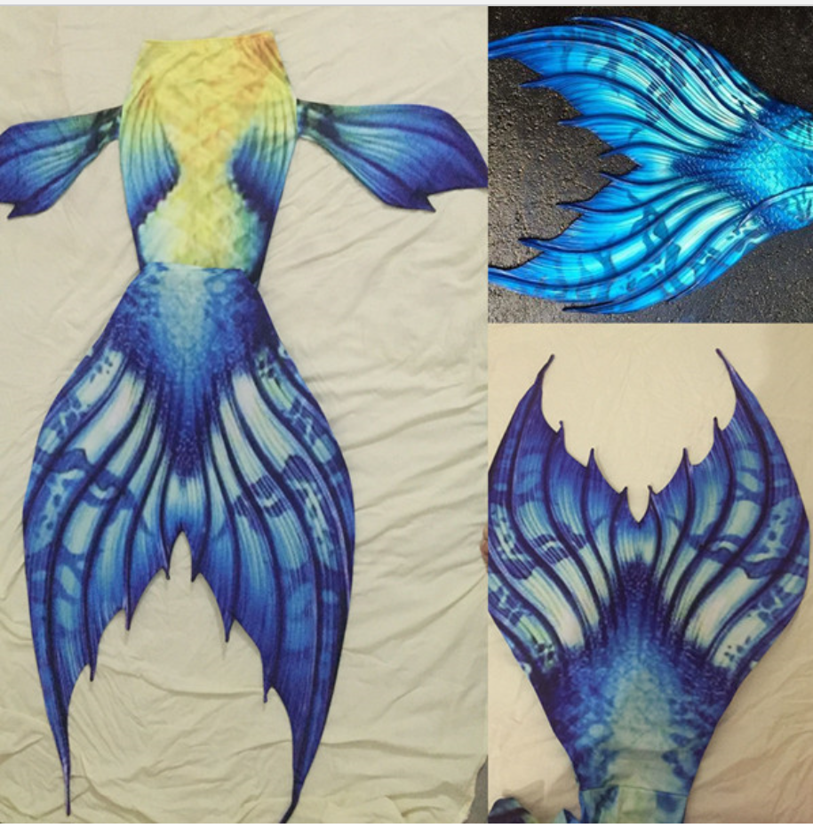 Swimmable Mermaid Yellow fish, blue fish tails and fins Tails for Adults Women with Monofin