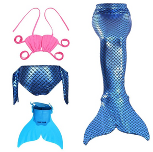 Best Swimmable Mermaid Tail Swimsuit Bikini for Kids Dark Blue Mermaid Tail Girls Swimsuit with Fins Monofin Flipper