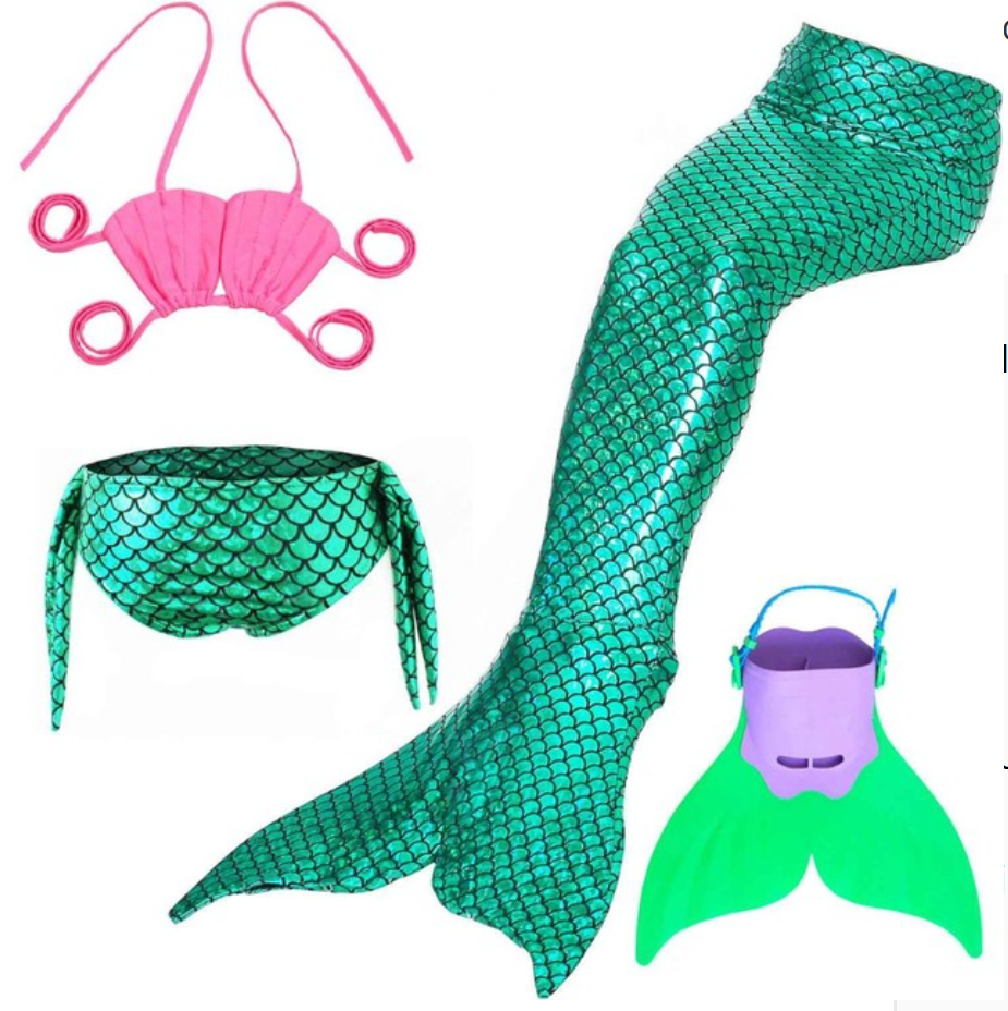 Best Swimmable Mermaid Tail Swimsuit Bikini for Kids Green Mermaid Tail Girls Swimsuit with Fins Monofin Flipper