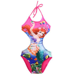 Mermaid Girls Halter One-Piece Suits Cartoon Print Tankini Swimsuit