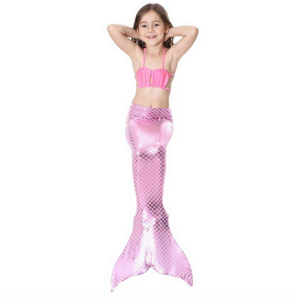 Best Swimmable Mermaid Tail Swimsuit Bikini for Kids Light Pink Mermaid Tail Girls Swimsuit