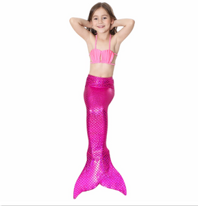 Best Swimmable Mermaid Tail Swimsuit Bikini for Kids Pink Mermaid Tail Girls Swimsuit