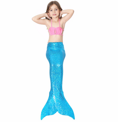 Best Swimmable Mermaid Tail Swimsuit Bikini for Kids Blue Mermaid Tail Girls Swimsuit