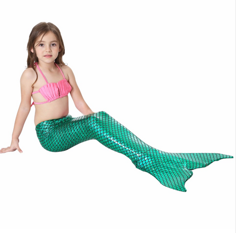 Best Swimmable Mermaid Tail Swimsuit Bikini for Kids Green Mermaid Tail Girls Swimsuit