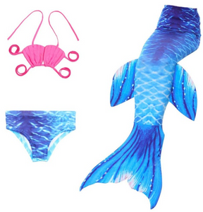 Cheap Mermaid Tail for Kids Swimmable Swimsuit Bikini Mermaid 3 Pieces Bikini Bathing Set J Children Summer Swimming Dress