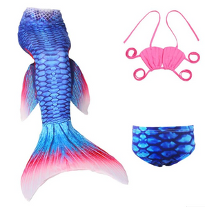 Cheap Mermaid Tail for Kids Swimmable Swimsuit Bikini Mermaid 3 Pieces Bikini Bathing Set B Children Summer Swimming Dress