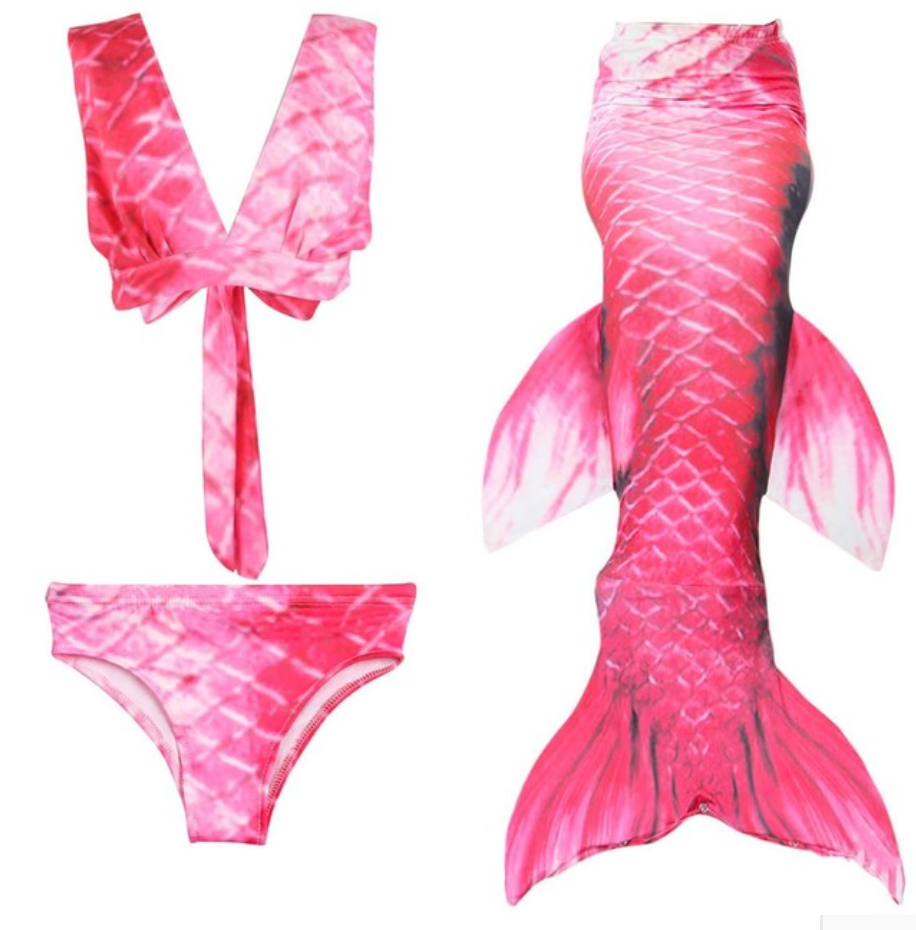 Cheap Mermaid Tail for Kids Swimmable Swimsuit Bikini Mermaid 3 Pieces Bikini Bathing Set G Children Summer Swimming Dress