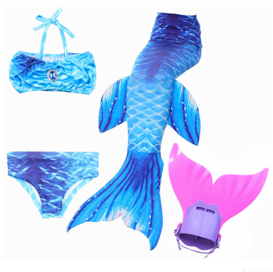 Mermaid Swim Tail Swimsuit Bikini Swimmable for Kids J with Fins Monofin Flipper for Girls