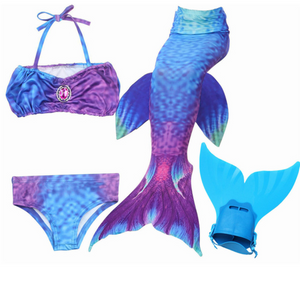 Mermaid Swim Tail Swimsuit Bikini Swimmable for Kids M with Fins Monofin Flipper for Girls