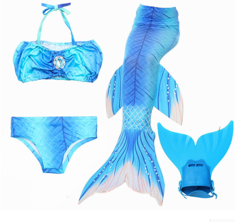 Mermaid Swim Tail Swimsuit Bikini Swimmable for Kids N with Fins Monofin Flipper for Girls