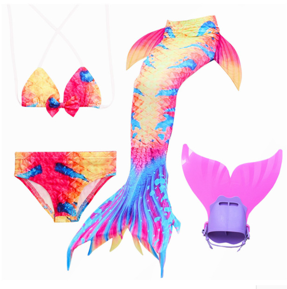 Mermaid Swim Tail Swimsuit Bikini Swimmable for Kids L with Fins Monofin Flipper for Girls