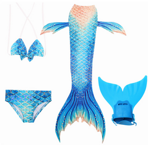 Mermaid Swim Tail Swimsuit Bikini Swimmable for Kids P with Fins Monofin Flipper for Girls