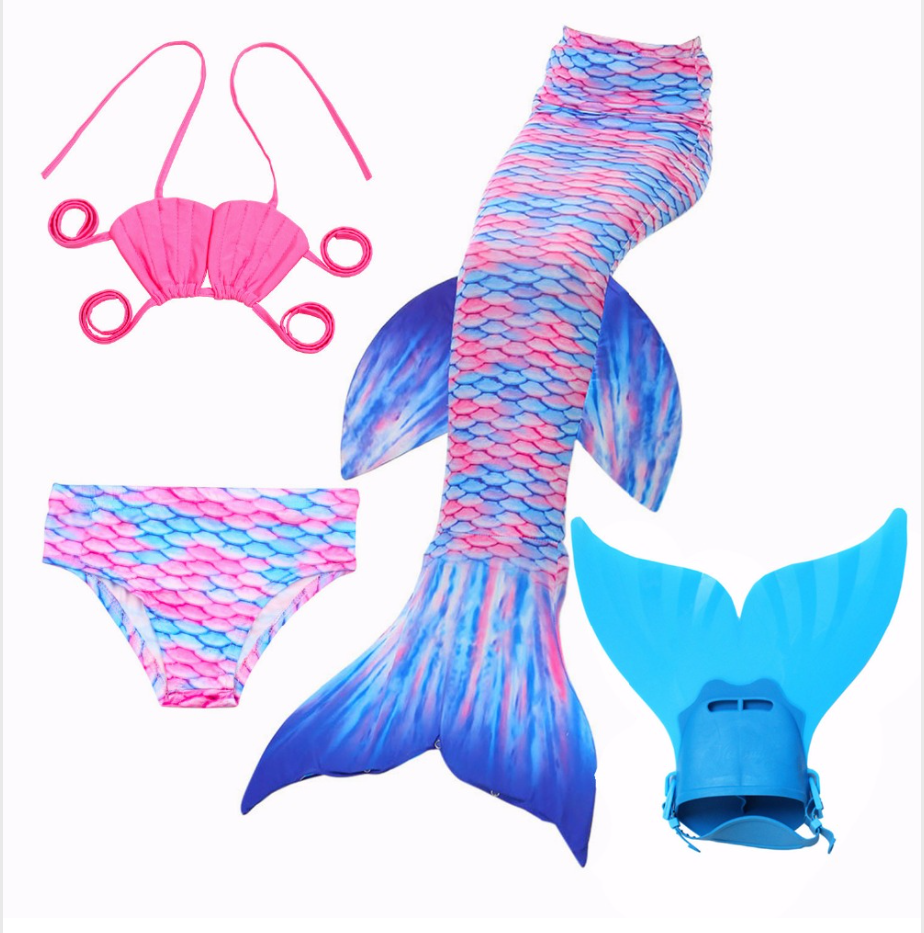 Mermaid Swim Tail Swimsuit Bikini Swimmable for Kids B with Fins Monofin Flipper for Girls