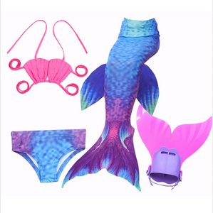 Mermaid Swim Tail Swimsuit Bikini Swimmable for Kids C with Fins Monofin Flipper for Girls