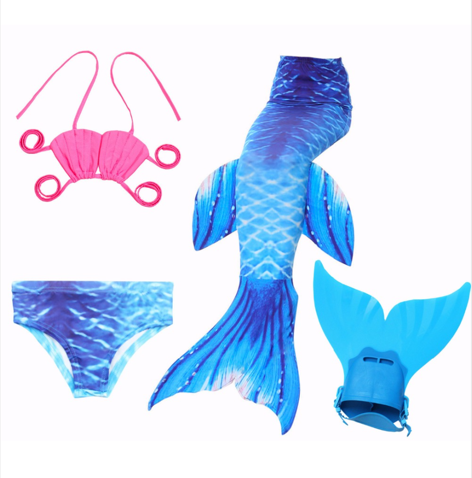 Mermaid Swim Tail Swimsuit Bikini Swimmable for Kids D with Fins Monofin Flipper for Girls