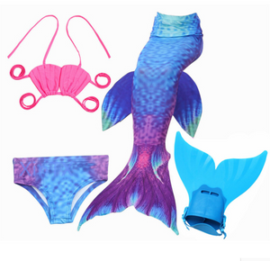 Mermaid Swim Tail Swimsuit Bikini Swimmable for Kids F with Fins Monofin Flipper for Girls