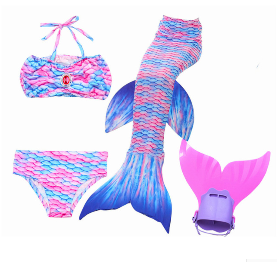 Mermaid Swim Tail Swimsuit Bikini Swimmable for Kids H with Fins Monofin Flipper for Girls