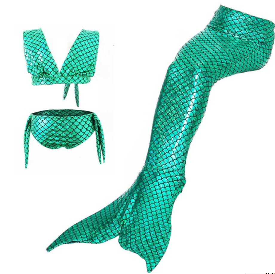 Kids Swimmable Mermaid Swimsuit Bikini for Cheap Green Girls Mermaid Tails For Swimming Cosplay