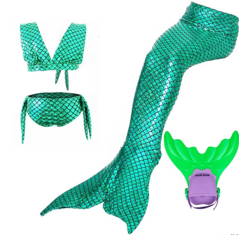Kids Swimmable Mermaid Swimsuit Bikini Green for Cheap Mermaid Tail with Fins Monofin Flipper for Girls
