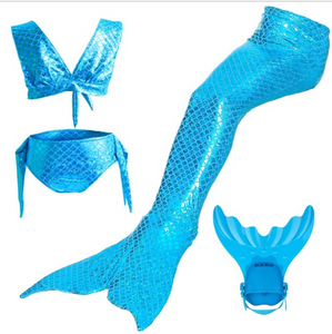 Kids Swimmable Mermaid Swimsuit Bikini Blue for Cheap Mermaid Tail with Fins Monofin Flipper for Girls