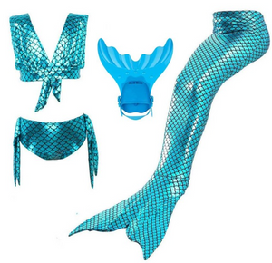 Kids Swimmable Mermaid Swimsuit Bikini for Cheap Mermaid Tail with Fins Monofin Flipper for Girls