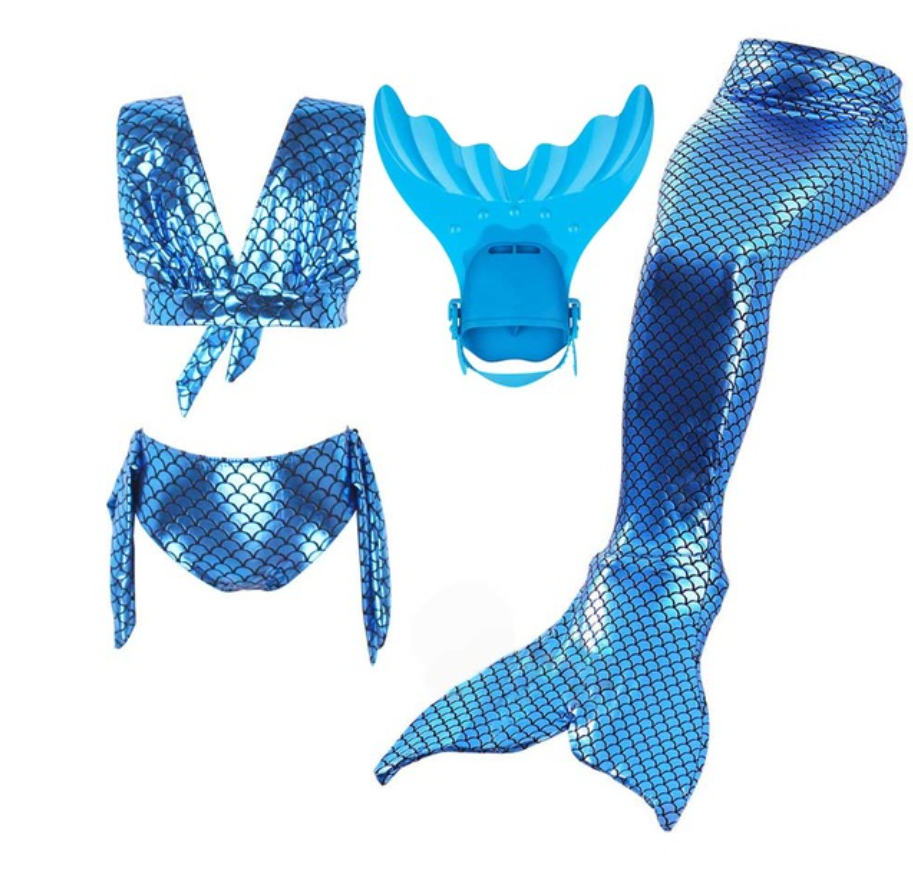 Kids Swimmable Mermaid Swimsuit Bikini Dark Blue for Cheap Mermaid Tail with Fins Monofin Flipper for Girls