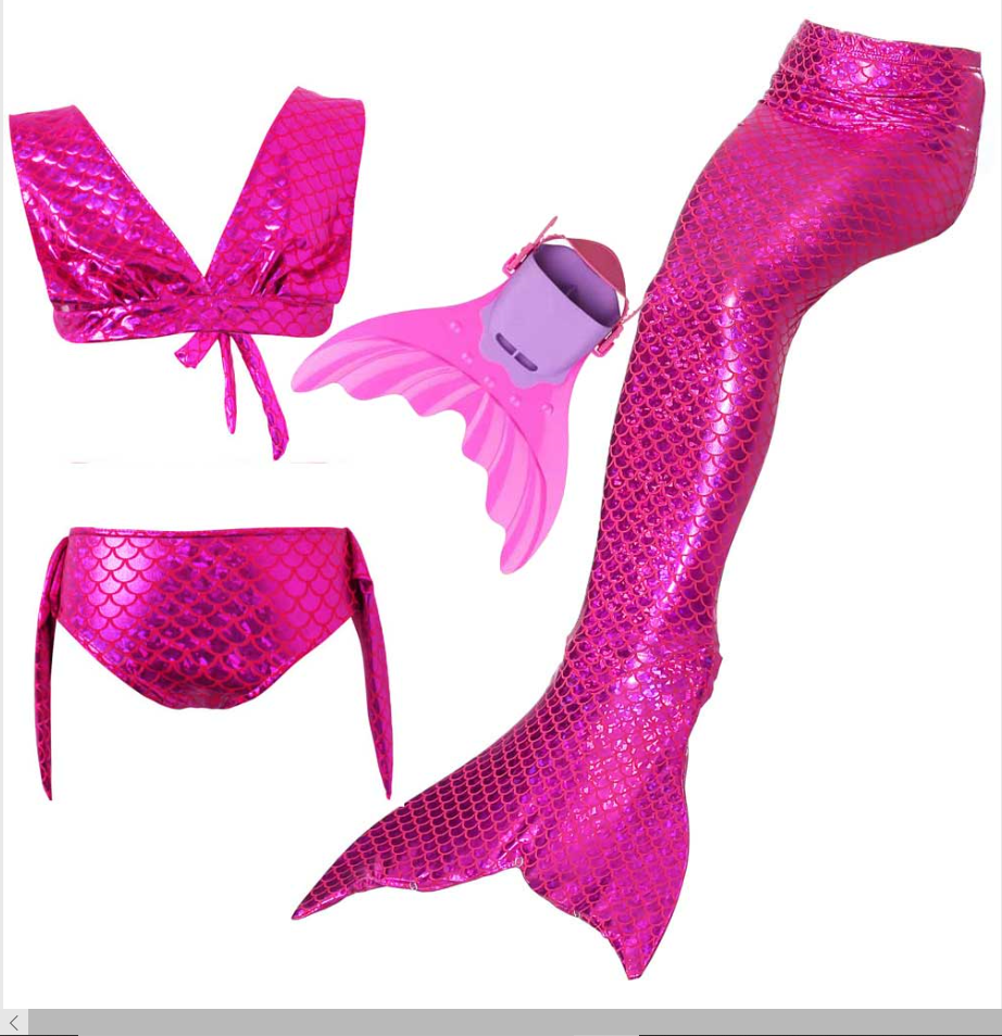 Kids Swimmable Mermaid Swimsuit Bikini Pink for Cheap Mermaid Tail with Fins Monofin Flipper for Girls