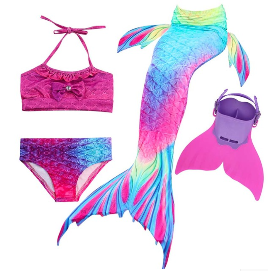 Kids Best Mermaid Tails for Swimming Swimsuit Bikini I with Fins Monofin Flipper for Girls