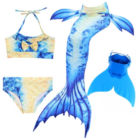 Kids Best Mermaid Tails for Swimming Swimsuit Bikini K with Fins Monofin Flipper for Girls