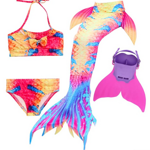 Kids Best Mermaid Tails for Swimming Swimsuit Bikini N with Fins Monofin Flipper for Girls