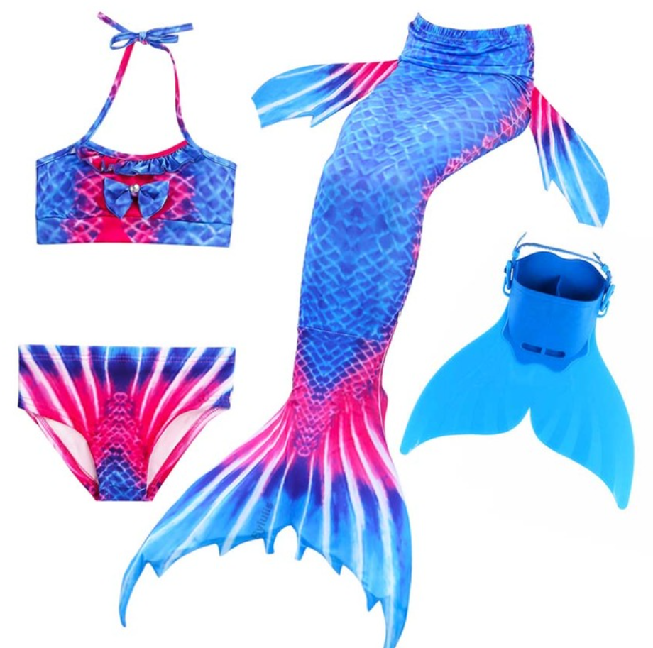 Kids Best Mermaid Tails for Swimming Swimsuit Bikini O with Fins Monofin Flipper for Girls