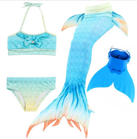 Kids Best Mermaid Tails for Swimming Swimsuit Bikini P with Fins Monofin Flipper for Girls