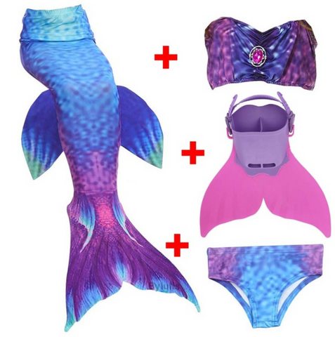 Kids Best Mermaid Tails for Swimming Swimsuit Bikini Q with Fins Monofin Flipper for Girls
