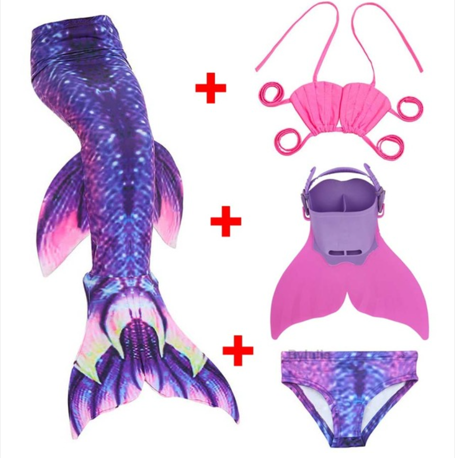 Kids Best Mermaid Tails for Swimming Swimsuit Bikini A with Fins Monofin Flipper for Girls