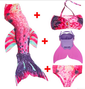 Kids Best Mermaid Tails for Swimming Swimsuit Bikini S with Fins Monofin Flipper for Girls