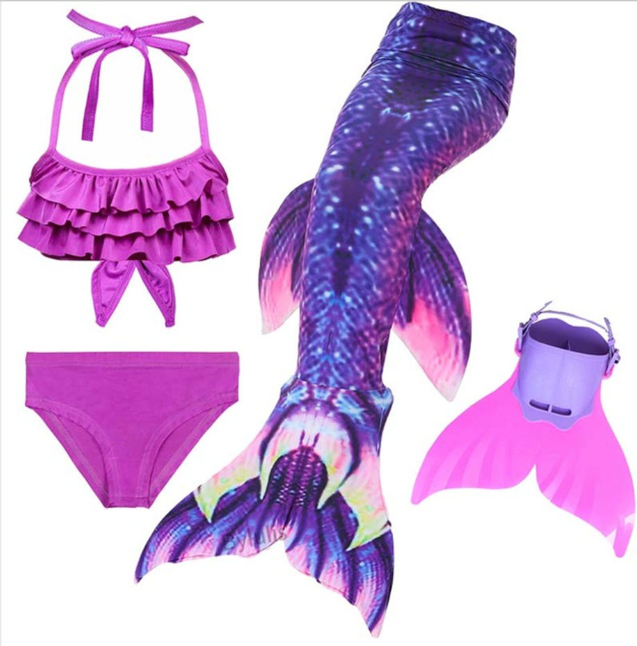 Kids Best Mermaid Tails for Swimming Swimsuit Bikini C with Fins Monofin Flipper for Girls
