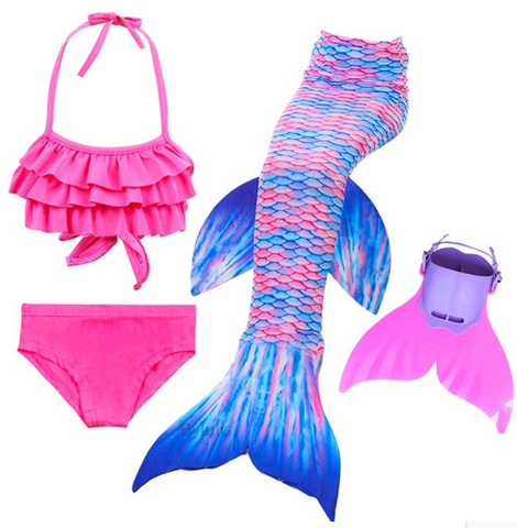 Kids Best Mermaid Tails for Swimming Swimsuit Bikini E with Fins Monofin Flipper for Girls