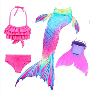 Kids Best Mermaid Tails for Swimming Swimsuit Bikini T with Fins Monofin Flipper for Girls